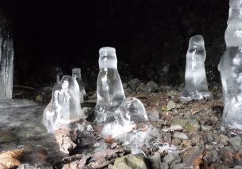 いろいろな形の氷筍